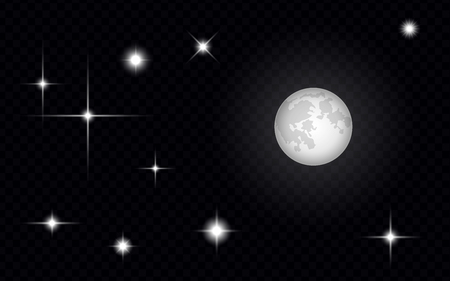 Set of light effects in the form of stars or suns and moon in the sky, isolated on a transparent background - vector