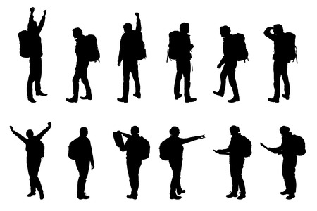 Set vector realistic silhouettes tourists - man and woman, with backpacks Foto de archivo - 95912829