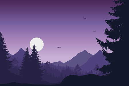 Mountain landscape with forest, under a purple sky with flying birds and sun or moon