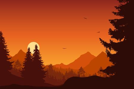 Paysage de montagne avec forêt, sous un ciel orange avec des oiseaux qui volent et le soleil ou la lune