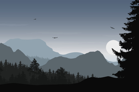 Mountain landscape with forest, under a grey sky with flying birds and sun or moon