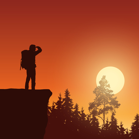 Vector illustration of mountain landscape with forest, rising sun and tourist - with space for text