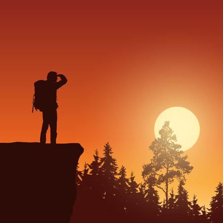 Ilustración de vector de paisaje de montaña con bosque, sol naciente y turista - con espacio para texto