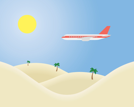 Airliner flying in the blue sky with the sun shining over a tropical landscape with sand and palm trees - vector, suitable for advertising on holiday  イラスト・ベクター素材
