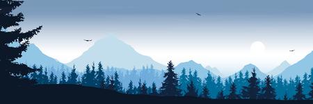 雲と日の出と朝の空の下に森と飛ぶ鳥と広い山の風景 - ベクター、屋外広告に適しています