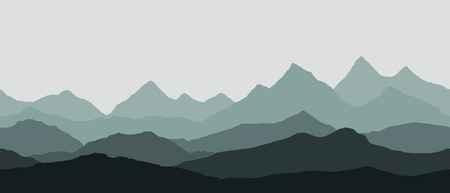 panoramic view of the mountain landscape with fog in the valley below with the alpenglow grey sky - seamless vector