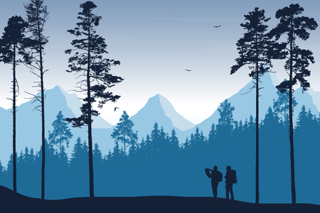 Tourist, man and woman with backpacks and a map looking for a trip in a mountain landscape with forest, trees and flying birds under the sky with clouds - vector Ilustração