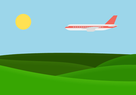 Green landscape with grassy hills and flying airplane on blue sky with sun vector, suitable for advertising on vacation and travel.