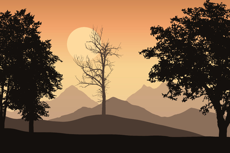 Mountain landscape with trees and one lone dead trees, the orange sky with the sun - Vector Vettoriali