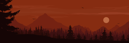 Wide mountain landscape with forest and flying birds under the moon illustration.