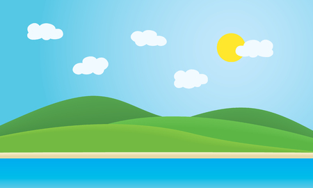 Sea with coast, beaches and green hills under summer blue sky with clouds and sun - vector, with space for your text, suitable as advertising for travel or vacation Vectores