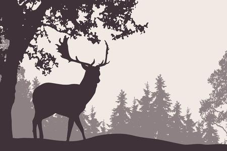 Vector illustratie van een damhert die zich onder een loofboom met naaldbos op de achtergrond bevindt - geschikt als reclame voor natuur, reis of jacht