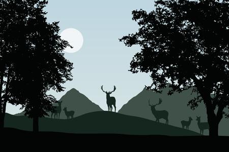 Kudde damherten die zich onder loofbomen, vector, met hemel met zon en ruimte voor uw tekst bevinden Stock Illustratie