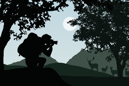 A tourist with a backpack photographing a herd of deer in a forest, with mountains in the background, under a gray sky with the sun - vector Illustration