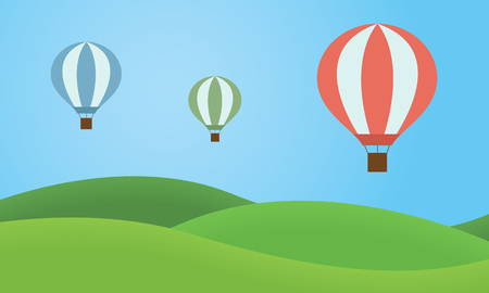 Three colorful hot air balloons flying over the landscape with grassy hills and blue sky