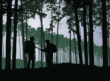 Tourists, man and woman with backpacks and map wandering in forest - vector