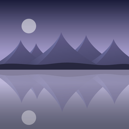 Abstract mountain landscape on the sea shore with reflection in water and moon on purple sky