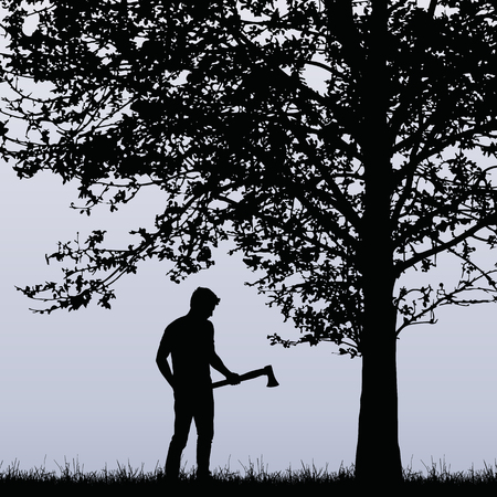 Man, lumberjack with an ax standing near a deciduous tree in the grass.