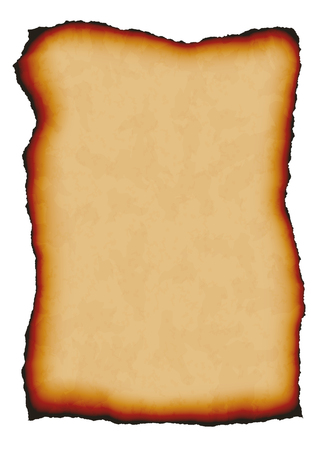 Vector illustration of old paper with burnt edges and space for your text - isolated vector on a white background.