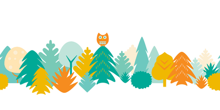 Seamless pattern of colorful forest with trees and owl - flat design vector Illustration