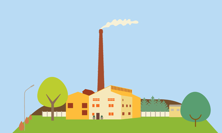 Flat design illustration of a factory with chimney and smoke, on a hill with trees, under a blue sky - vector Illustration