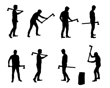 Set of realistic vector silhouettes of man with ax, standing, walking and chopping wood