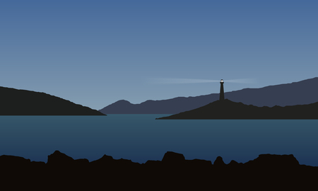 Sea with bay, rocks and shining beacon, under blue sky - vector