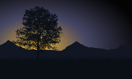 Tree with grass and mountains in the background under the morning sky with the rising sun and space for your text - vector Illustration
