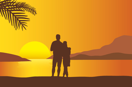 Loving couple watching sunset at the beach with sunshine reflected in the sea under orange sky - vector Çizim