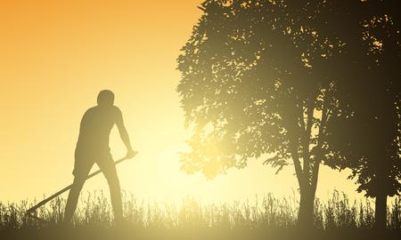 Homme tondre l'herbe avec une faux sous l'arbre au lever du soleil - vecteur Vecteurs