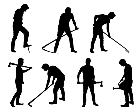 Set silhouette of young man - gardener or farmer with tools in different poses - vector