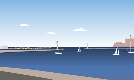 Coast of Rhodes island with sea, moor and columns with statues of deer, under a blue summer sky with clouds - vector Illusztráció
