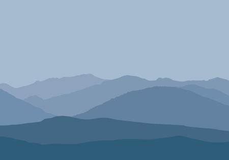 Vector illustration of mountain peaks in misty haze under gray-blue sky - simple flat