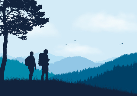 Two tourists with backpacks standing in mountain landscape with forest, under blue sky with clouds and flying birds - vector Illustration