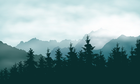 Realistic illustration of a coniferous forest in a mountain landscape in a haze under a green sky with clouds - vector