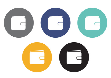 Set of vector circular wallet icons in different colors - usable for e-shop or web