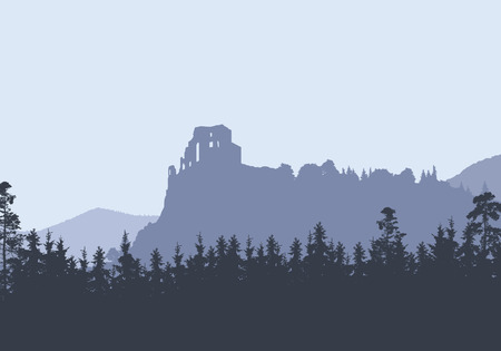 Ruins of a medieval castle on a high rock, between hills and forests - vector, Strecno - Slovakia