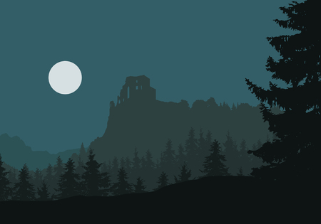 Ruins of a medieval castle on a rock between forests and mountains, under night sky with moon - vector Illustration
