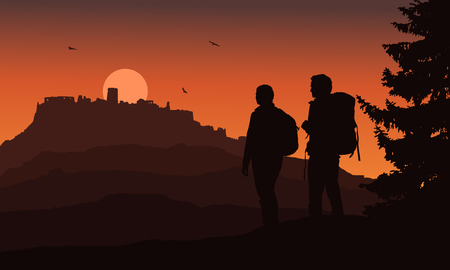 Castle on a hill with two tourists in the foreground, under a night orange sky and flying birds - vector, Spis Castle, Slovakia