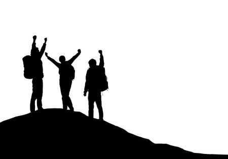 Three tourists with backpacks on top of a mountain rejoice in success - vector Stock Illustratie