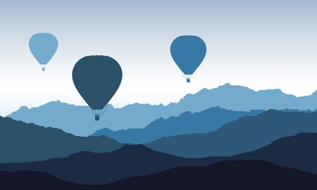 Mountain peaks with three flying hot air balloons, with blue morning sky - vector Ilustração