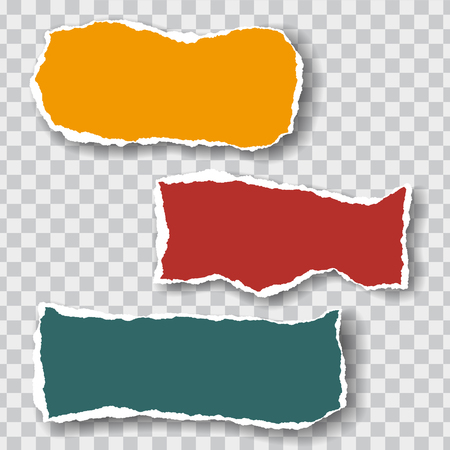 Three torn sheets of paper of different colors with shadow, isolated on a transparent background, suitable for infographics - vector