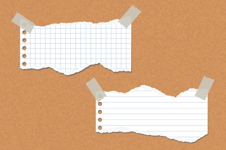 Two torn lined and square papers attached with adhesive tape to a cork board - vector Stock Illustratie