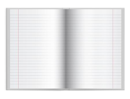 Abrir un libro escolar con papel rayado en tapa dura con espacio para texto - vector