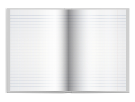 Open a schoolbook with lined paper in hardcover with space for text - vector