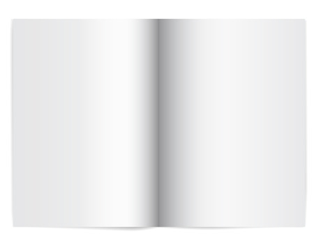 Vector illustration of an open school notebook with empty paper - with shadow and space for your text Stock Illustratie