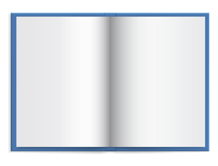 Open a blue book with empty paper in hardcover with space for text - vector