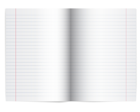 Vector illustration of an open school notebook with lined paper - with shadow and space for your text