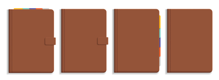 Set of vector illustrations of brown leather diary with colorful bookmarks, isolated on white background
