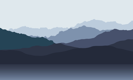 Mountain landscape with hills on shore of lake or sea, under morning or evening gray sky - vector 일러스트